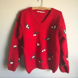 Vintage chunky knit embroidered Christmas sweater